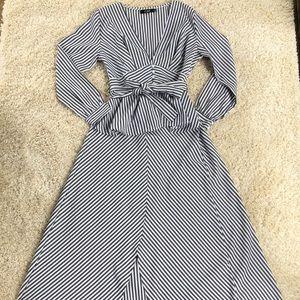 CBR Gray White Striped Victorian Cardigan Dress